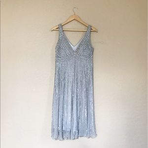 Stenay Vintage Beaded Dress Silver 6 Party Sequin
